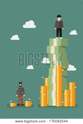 Gap between rich and poor. Vector illustration
