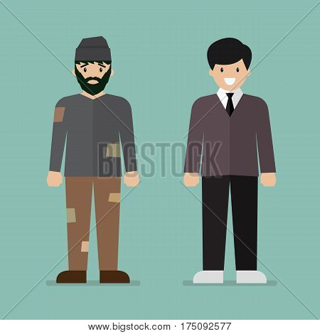 Homeless man and rich man character. Vector illustration