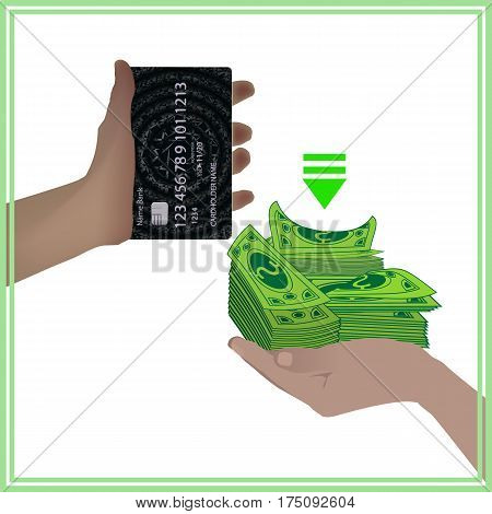 Concept Of A Bank Card Is Equal To Real Money
