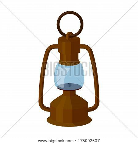 A gas lamp.The lighting device of miners.Mine Industry single icon in cartoon style vector symbol stock web illustration.