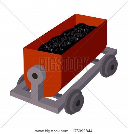 The red cart on wheels for lifts minerals from deep mines.Mine Industry single icon in cartoon style vector symbol stock web illustration.