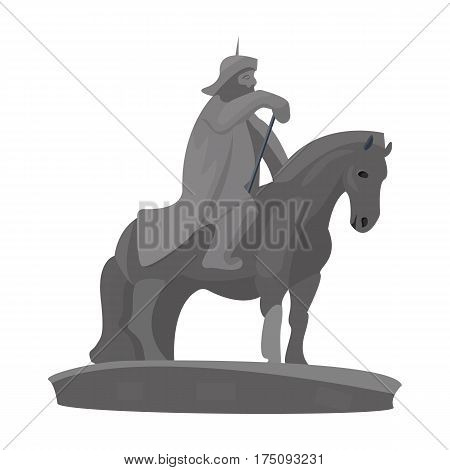 The monument to the military of Mongolia on horseback.The statue stands in Mongolia.Mongolia single icon in cartoon style vector symbol stock web illustration.