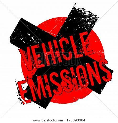 Vehicle Emissions rubber stamp. Grunge design with dust scratches. Effects can be easily removed for a clean, crisp look. Color is easily changed.