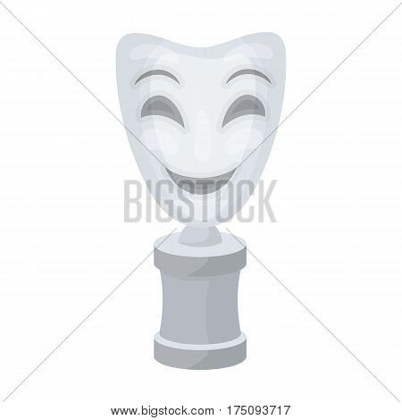 White mask MIME on the stand.The prize for best drama.Movie awards single icon in cartoon style vector symbol stock web illustration.