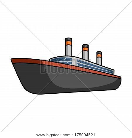 Huge cargo black liner.Ship for transportation of heavy thunderstorms on the sea and the ocean .Ship and water transport single icon in cartoon style vector symbol stock web illustration.