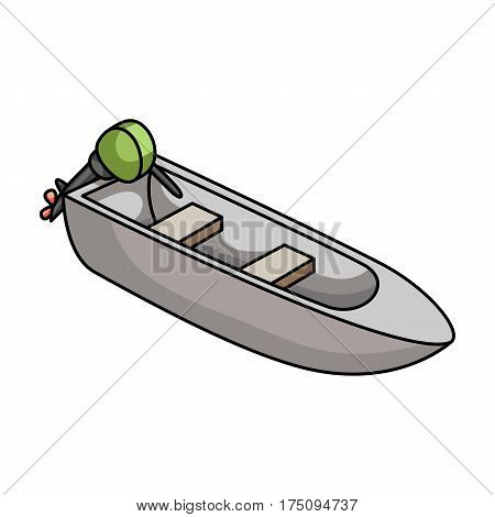 Small metal boat with motor for fishing.Boat for river or lake fishing.Ship and water transport single icon in cartoon style vector symbol stock web illustration.