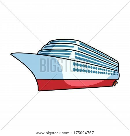 A huge cruise liner.Vehicle for travelling over long distances to a huge number of people.Ship and water transport single icon in cartoon style vector symbol stock web illustration.