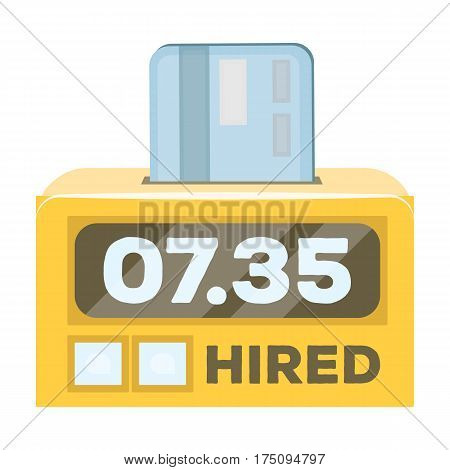 Yellow taxi counter with bank card.A device for measuring and calculating the cost of travel in a taxi. Taxi station single icon in cartoon style vector symbol stock web illustration.