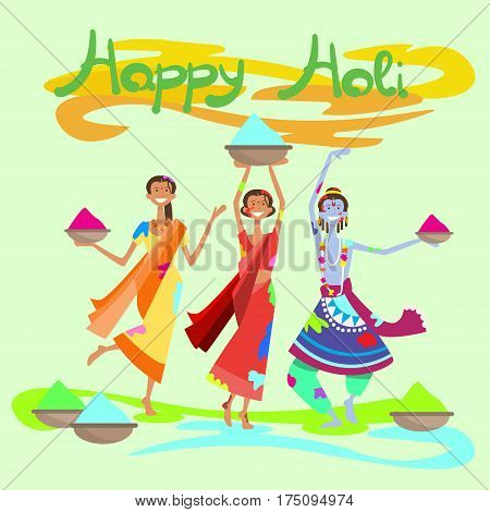 Happy Holi Religious India Holiday Traditional Celebration Greeting Cart Flat Vector Illustration