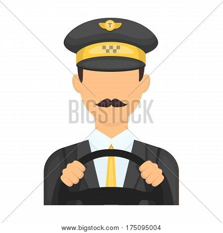 Taxi driver wearing a cap. Man is driving a taxi car. Taxi station single icon in cartoon style vector symbol stock web illustration.