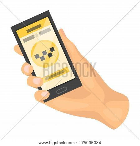 Hand holding a phone to call for order taksi.Programm car taxi online. Taxi station single icon in cartoon style vector symbol stock web illustration.