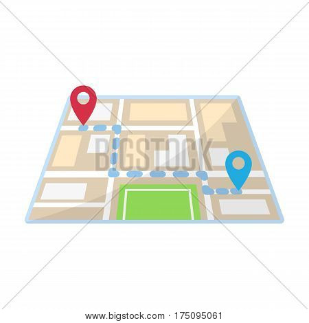 Map with the route taxi movement.Taxi station navigator for conveying passengers. Taxi station single icon in cartoon style vector symbol stock web illustration