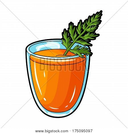 A glass with orange drink and a leaf.Healthy vegetarian carrot juice.Vegetarian Dishes single icon in cartoon style vector symbol stock web illustration.