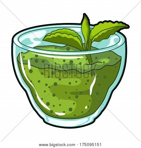Fresh puree of greens with a mint leaf .Vegetarian Breakfast of greens.Vegetarian Dishes single icon in cartoon style vector symbol stock web illustration.
