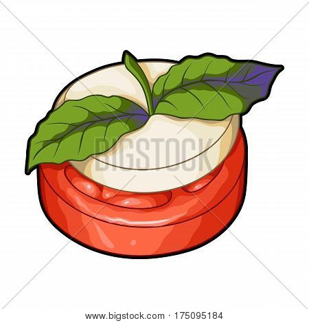 Sandwich vegetarian cuisine.Hamburger tomato and cheese with a leaf of mint.Vegetarian Dishes single icon in cartoon style vector symbol stock web illustration.
