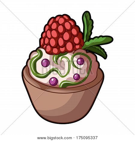 Vegetarian dessert. For vegetarians ice cream in a chocolate Cup and raspberry.Vegetarian Dishes single icon in cartoon style vector symbol stock web illustration