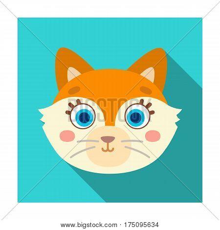 Fox muzzle icon in flat design isolated on white background. Animal muzzle symbol stock vector illustration.