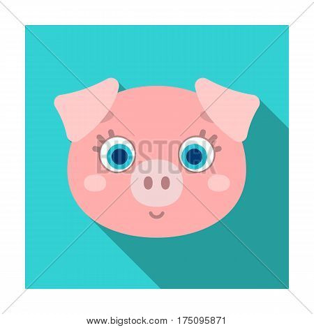 Pig muzzle icon in flat design isolated on white background. Animal muzzle symbol stock vector illustration.