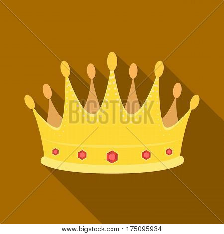 Golden crown with diamonds the winner of the beauty contest.Awards and trophies single icon in flat style vector symbol stock web illustration.