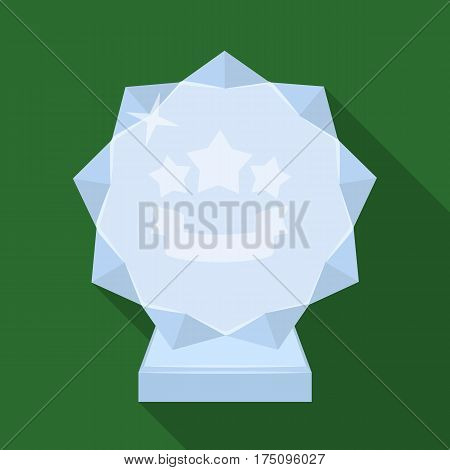 Crystal trophy in the shape of a star.Award for the best song in the talent contest .Awards and trophies single icon in flat style vector symbol stock web illustration.