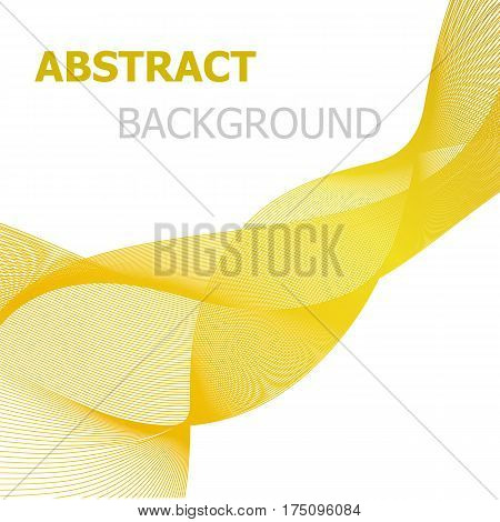 Yellow line wave abstract background, stock vector
