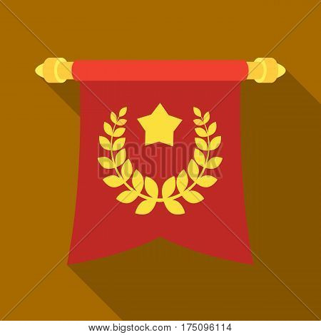 A red flag on a gold pole with the emblem of the first Olympics.Awards and trophies single icon in flat style vector symbol stock web illustration.