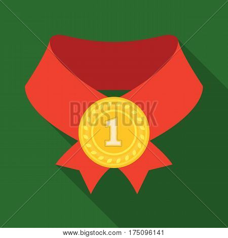 The gold award.Medal of medalist.Awards and trophies single icon in flat style vector symbol stock web illustration.