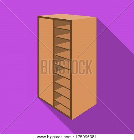A brown wooden bookcase with many books on its shelves. Home library. Love reading. Large brown bookcase.Bedroom furniture single icon in flat style vector symbol stock web illustration.