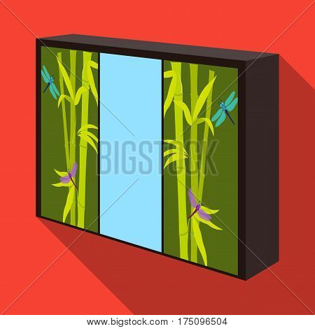 Wardrobe with mirror and green doors. the place for clothes.Bedroom furniture single icon in flat style vector symbol stock web illustration.
