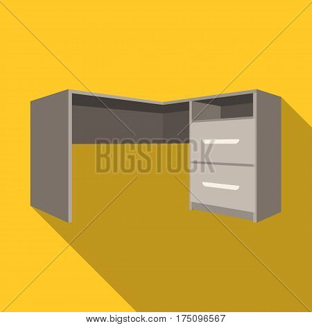 Grey desk with lockers.Desk for paperwork.Workplace and job, office, working symbol.Bedroom furniture single icon in flat style vector symbol stock web illustration.