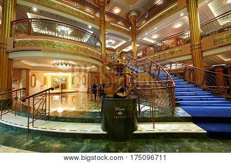 Interior Of Main Hall In Disney Cruise Ship