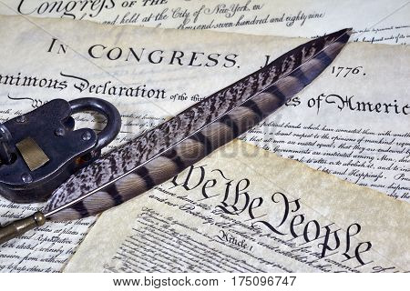 Us Constitution Historical Documents, Locked Padlock , Quill Pen