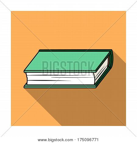 Green book icon in flat design isolated on white background. Books symbol stock vector illustration.