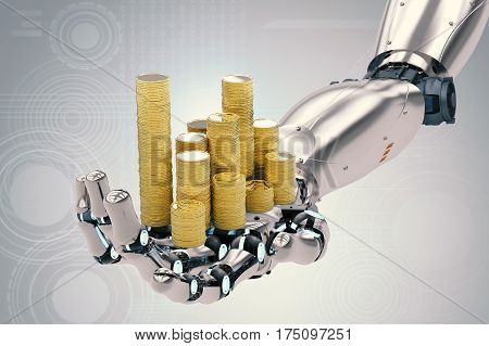 Robotic Hand Holding Gold Coins