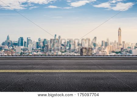 3d rendering urban roadside with cityscape background