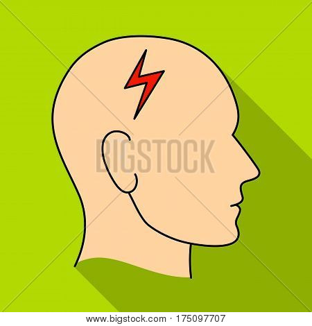 The head of the person with diabetes.Headache due to diabetes .Diabetes single icon in flat style vector symbol stock web illustration.