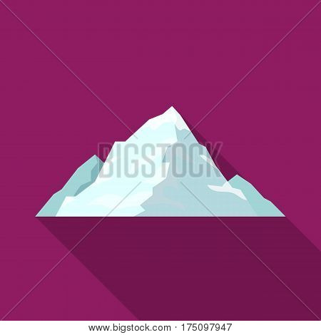 Ice mountain covered with snow.A mountain for skiing.Different mountains single icon in flat style vector symbol stock web illustration.