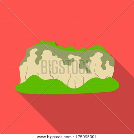 High green mountains.Mountains covered with forests.Different mountains single icon in flat style vector symbol stock web illustration.