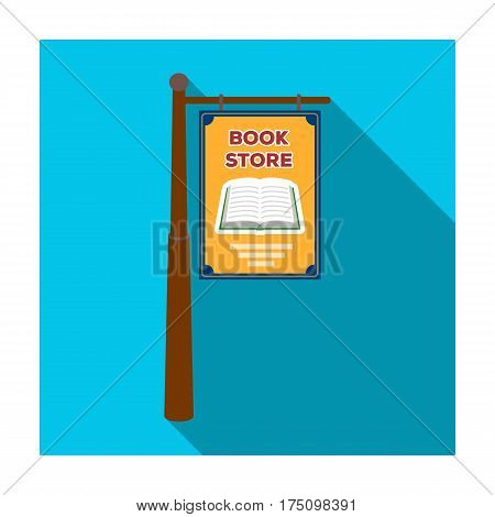 Bookstore signage icon in flat design isolated on white background. Library and bookstore symbol stock vector illustration.