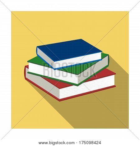 Stack of books icon in flat design isolated on white background. Library and bookstore symbol stock vector illustration.