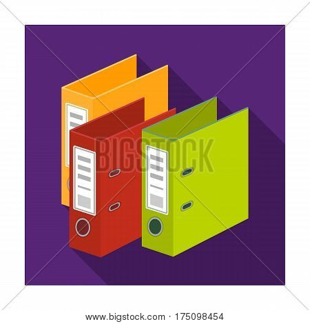 Ring binders icon in flat design isolated on white background. Library and bookstore symbol stock vector illustration.