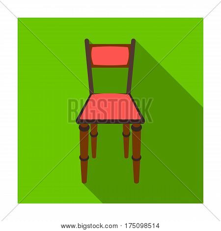 Wooden chair icon in flat design isolated on white background. Library and bookstore symbol stock vector illustration.