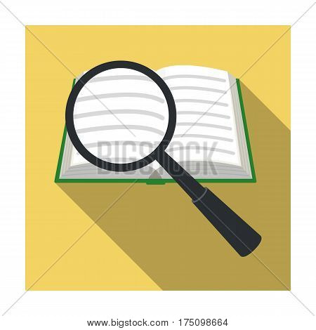 Seraching of information in the book icon in flat design isolated on white background. Library and bookstore symbol stock vector illustration.