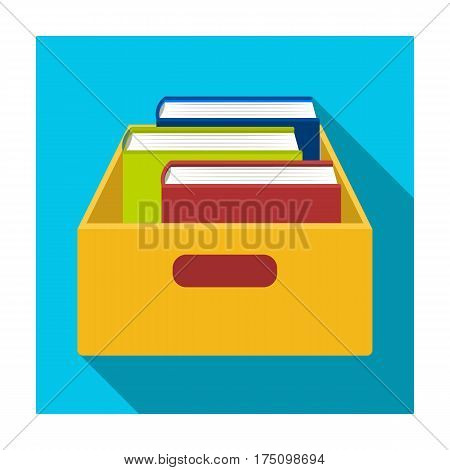 Books in box icon in flat design isolated on white background. Library and bookstore symbol stock vector illustration.