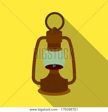 A gas lamp.The lighting device of miners.Mine Industry single icon in flat style vector symbol stock web illustration.