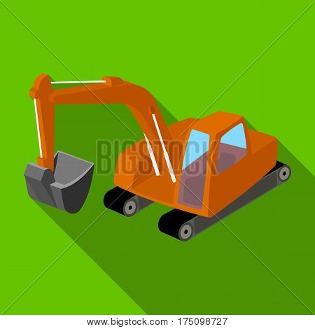 Orange excavator with a bucket . Machine for mine.Mine Industry single icon in flat style vector symbol stock web illustration.