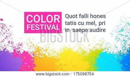 Paint Splash Color Festival Happy Holi India Holiday Traditional Celebration Greeting Cart Flat Vector Illustration