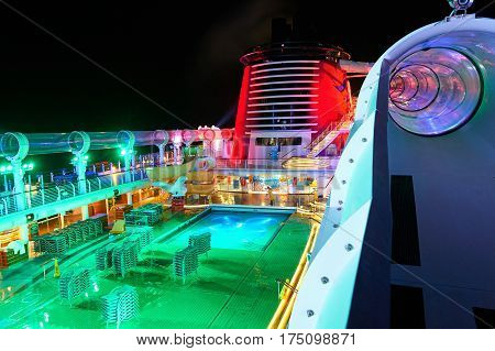 Aquaduck Slide On Open Deck Of Cruise Ship