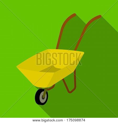 Green cart with wheel and handles. The means of transportation of small cargoes on the territory of the mines.Mine Industry single icon in flat style vector symbol stock web illustration.
