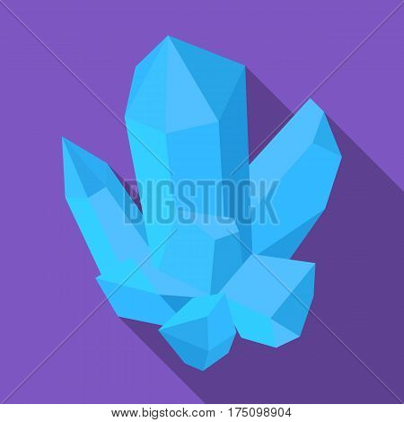 Blue mineral.Crystal, which is a towns produced in the mine.Mine Industry single icon in flat style vector symbol stock web illustration.
